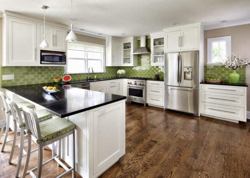 11-add-green-tile-as-backsplash-for-cozy-white-kitchen-ideas-with-white-counter-and-dark-countertop