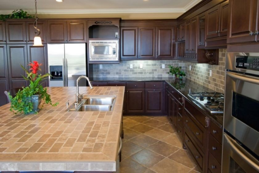 13-l-shape-kitchen-decorating-using-solid-cherry-wood-kitchen-cabinet-including-brown-travertine-tile-kitchen-flooring-and-black-granite-porcelain-tile