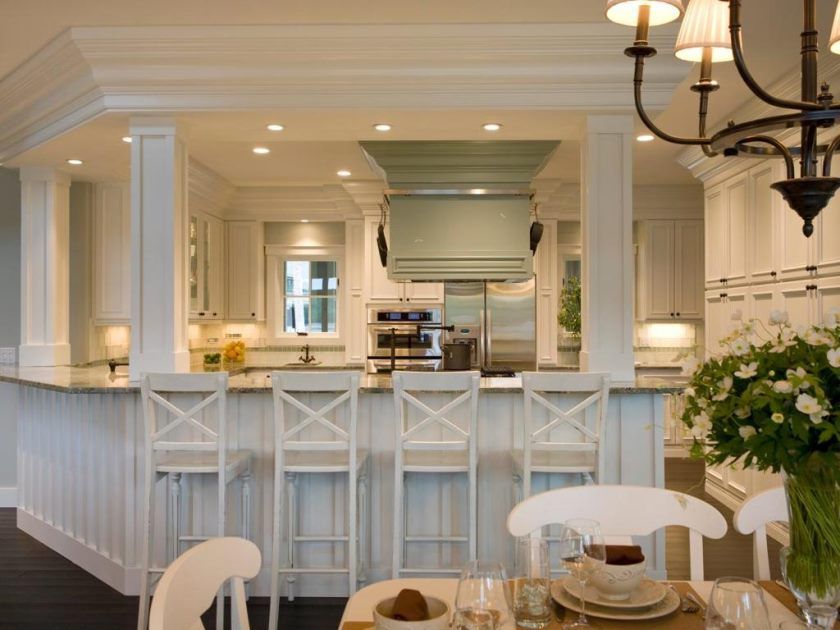 bright-white-kitchen-bar-design-with-wooden-white-stools-also-marble-countertop-and-wooden-dining-sets-over-cone-hanging-lamp