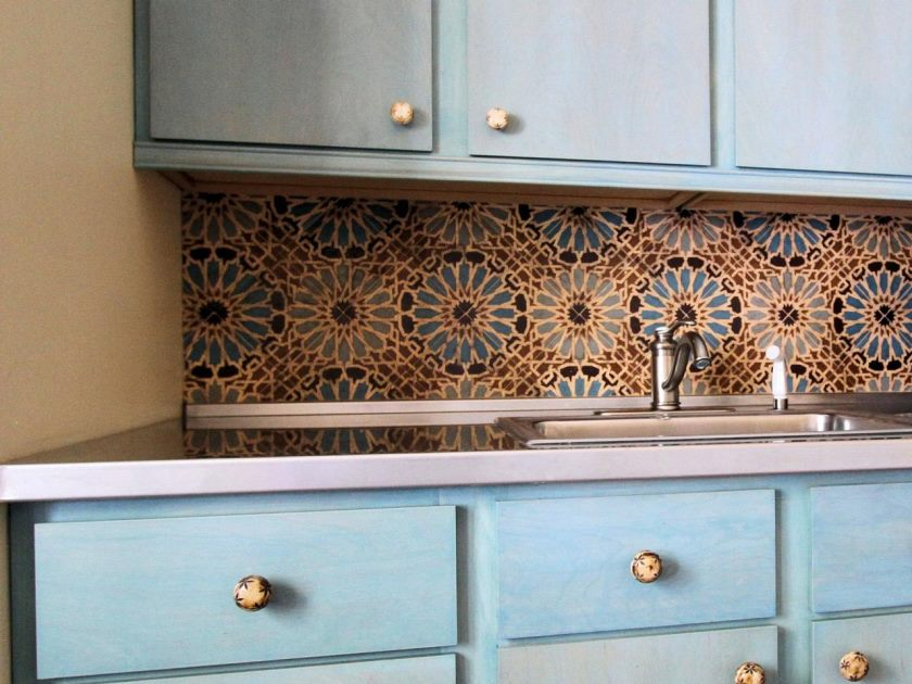 charming-motif-patterned-on-backsplash-tile-ideas-of-traditional-kitchen-with-tosca-colored-storage