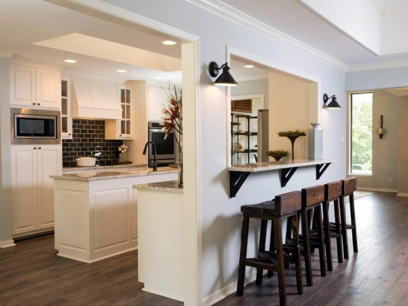 country-industrial-style-kitchen-bar-table-with-brown-wooden-stools-also-cone-black-wall-lamp-plus-white-marble-countertop