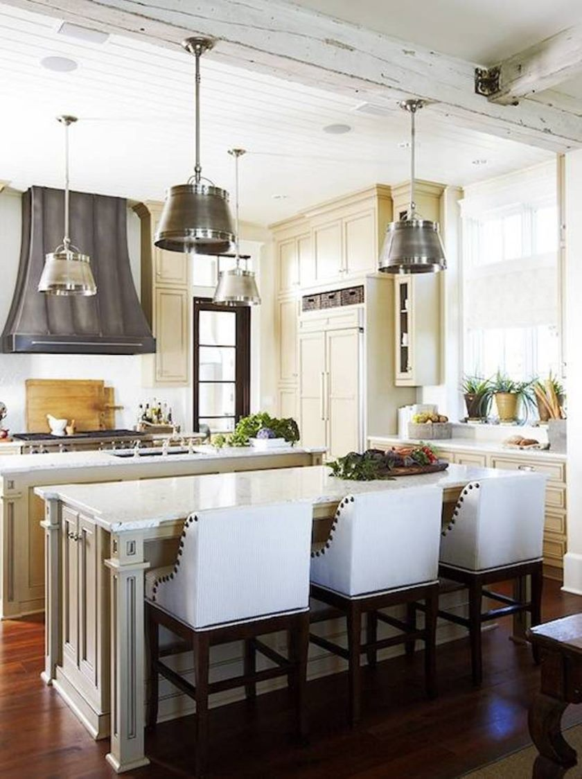 french-kitchen-design-with-industrial-kitchen-pendants-and-beadboard-ceiling