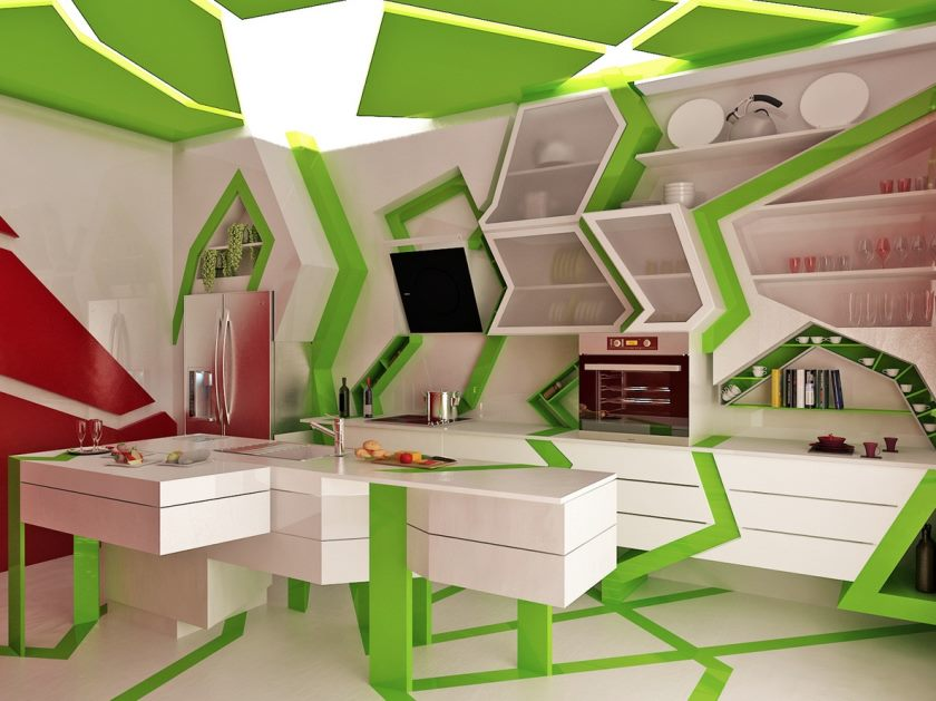 green-white-unique-contemporary-kitchen