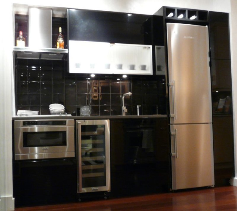 ideas-lovable-black-ceramic-subway-tile-backslash-with-floating-shelves-built-in-white-refrigerator-storage-in