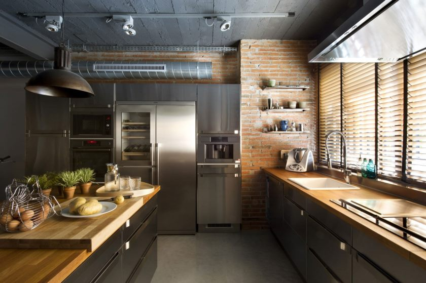kitchen-brick-wall-island-loft-style-home-terrassa-spain