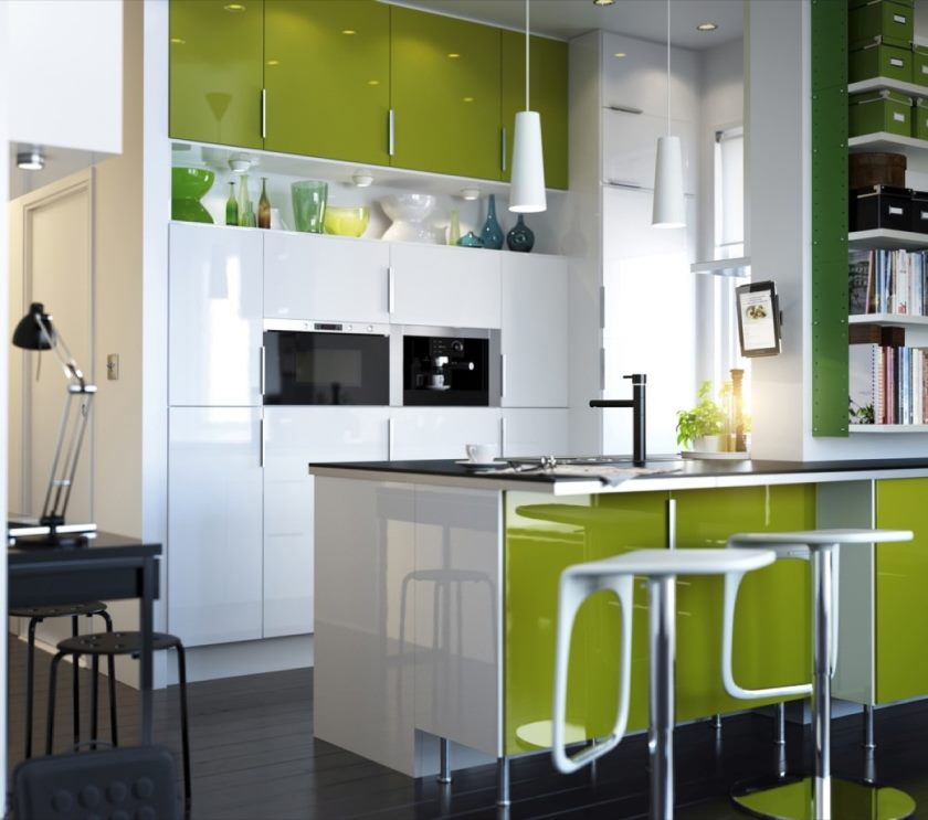 kitchens-painted-kitchen-fresh-lime-green-ikea-kitchen-ideas-design-using-unique-white-bar-stool-plus-charming-green-cabinets-idea