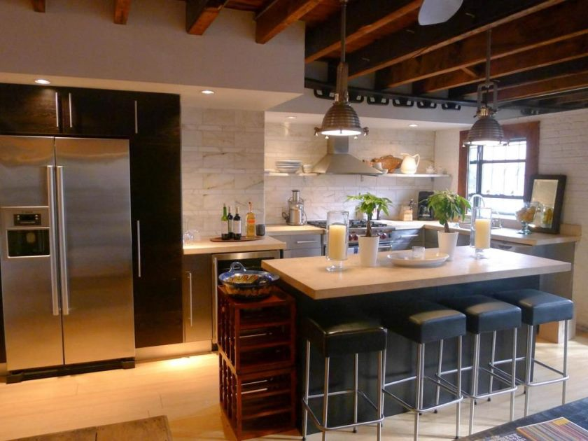 marvelous-contemporary-kitchen-decor-using-small-island-bar-table-also-chrome-legs-stools-and-wooden-beam-ceiling