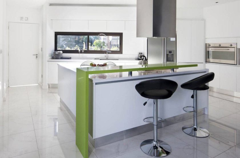 refreshing-green-accents-at-modern-kitchen-furnished-with-modern-kitchen-bar-ideas-on-tiled-flooring