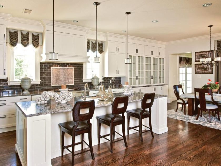 remarkable-white-kitchen-bar-table-with-brown-backrest-stools-also-marble-countertop-over-small-drum-hanging-lamps