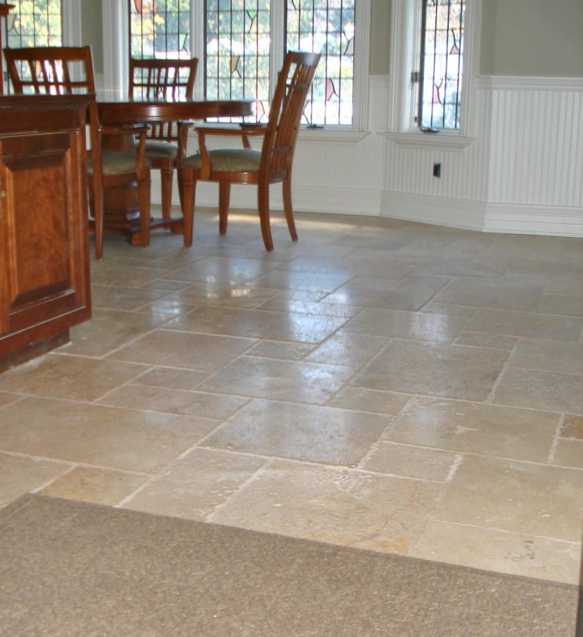 stone-kitchen-floor-tile-completing-traditional-kitchen-and-dining-room-with-wooden-dining-table-and-kitchen-island