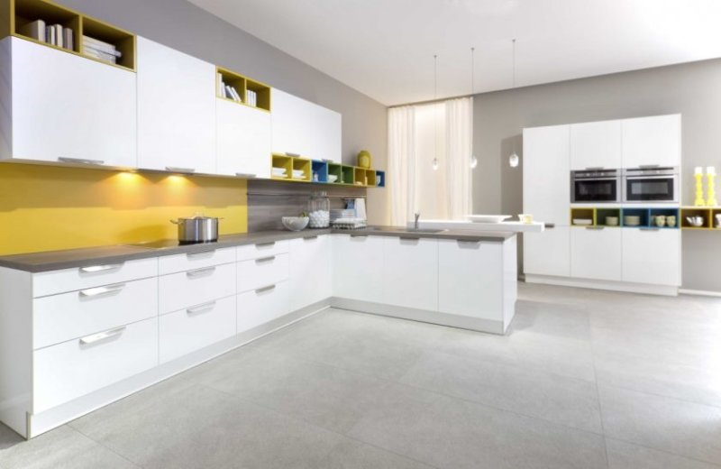stunning-colourful-kitchen-design-with-white-cabinets-with-built-in-cooking-bookcase