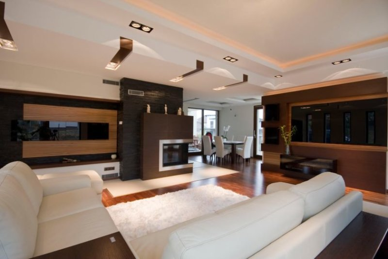 surprising-modern-living-room-decor-ideas-with-white-sofa-and-soft-rug-completed-with-ceiling-lightings-and-furnis