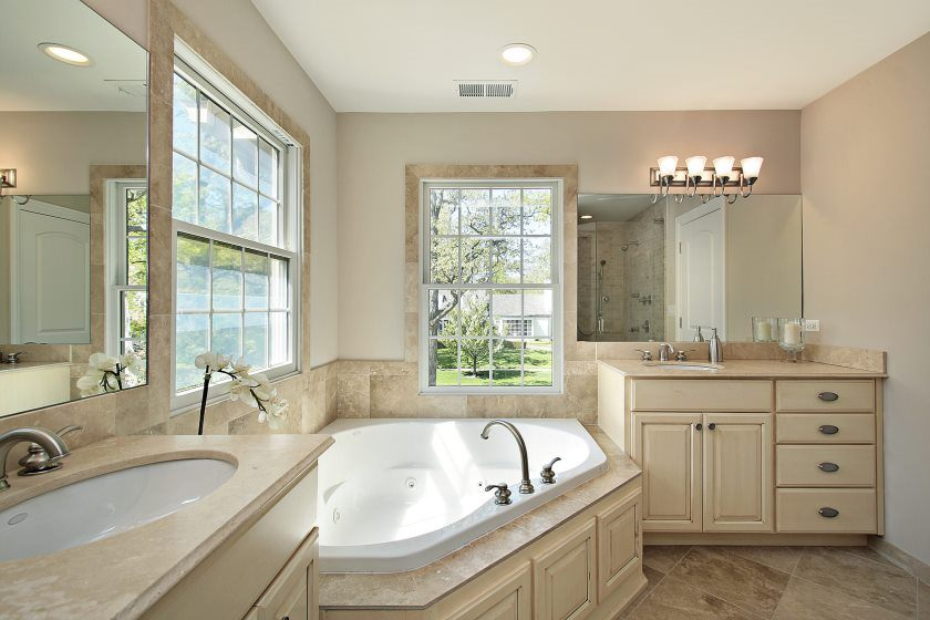 Master bath with tub in new construction home