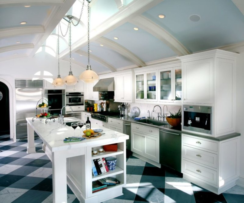 carrera-marble-countertops-in-kitchen-traditional-with-curved-ceiling-built-in-bookshelf-2