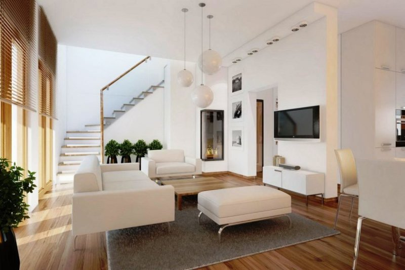 contemporary-minimalist-living-room-design-eith-three-white-balls-pendant-lamps-above-square-wooden-coffee-table-a