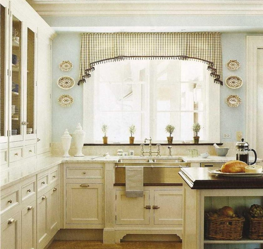 country-white-kitchen-interior-set-with-stainless-steel-farmhouse-sink-also-black-plaid-kitchen-cafe-curtain