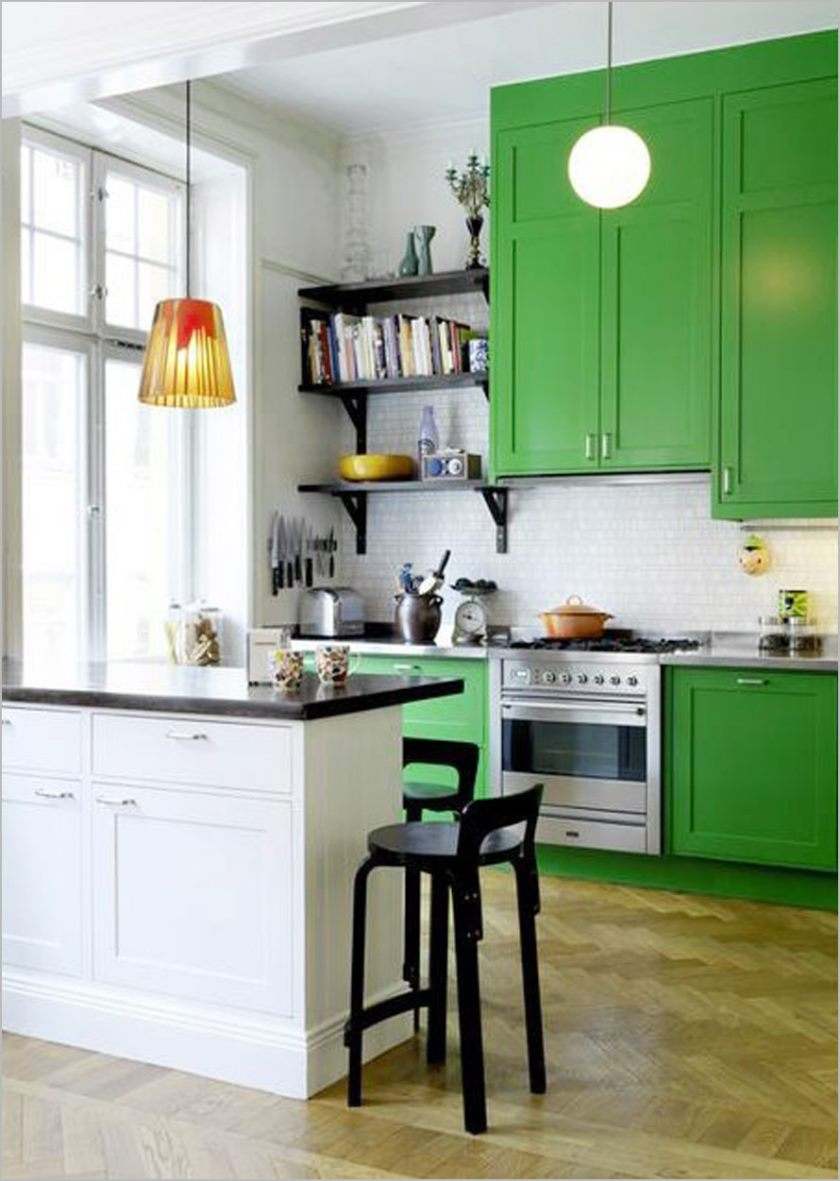 delectable-home-small-kitchen-white-interior-scheme-ideas-equiped-likable-fascinating-green-wooden-kitchens-cabinet-design-and-creative-wall-bookshelf-in-the-corner-plus-handsome-black-wooden-round-se