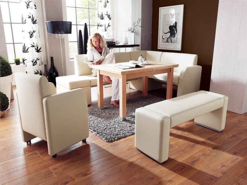 delightful-kitchen-dining-booth-decor-ideas-showcasing-white-leather-l-shape-sofa-bench-and-chair-on-grey-furry-rug-and-wooden-floor-panels-ideas-modern-kitchen-booths-dining-room-kitchen-admirable-m