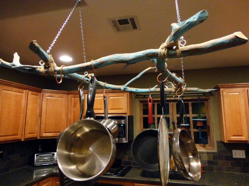 easy-diy-hanging-storing-pots-and-pans-from-ceiling-with-branch-over-island-in-the-middle-kitchen-spaces-ideas