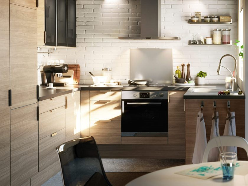 excellent-small-kitchen-design-layout-home-decoration-and-furnishing-ikea-style-kitchen-rooms-ideas-with-round-coffee-table-also-white-brick-walls-spacious