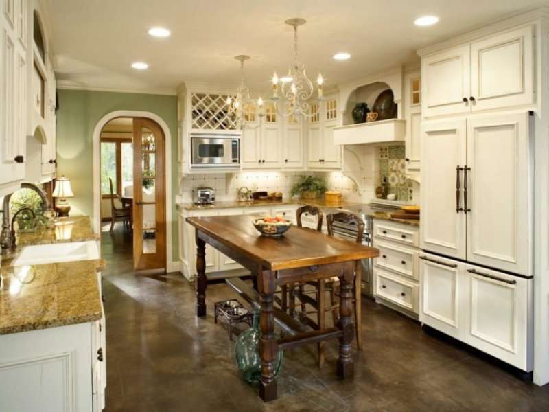 fancy-design-country-kitchen-cabinet-ideas-with-white-wooden-cabinets-and-metal-door-handles-also-built-in-fri