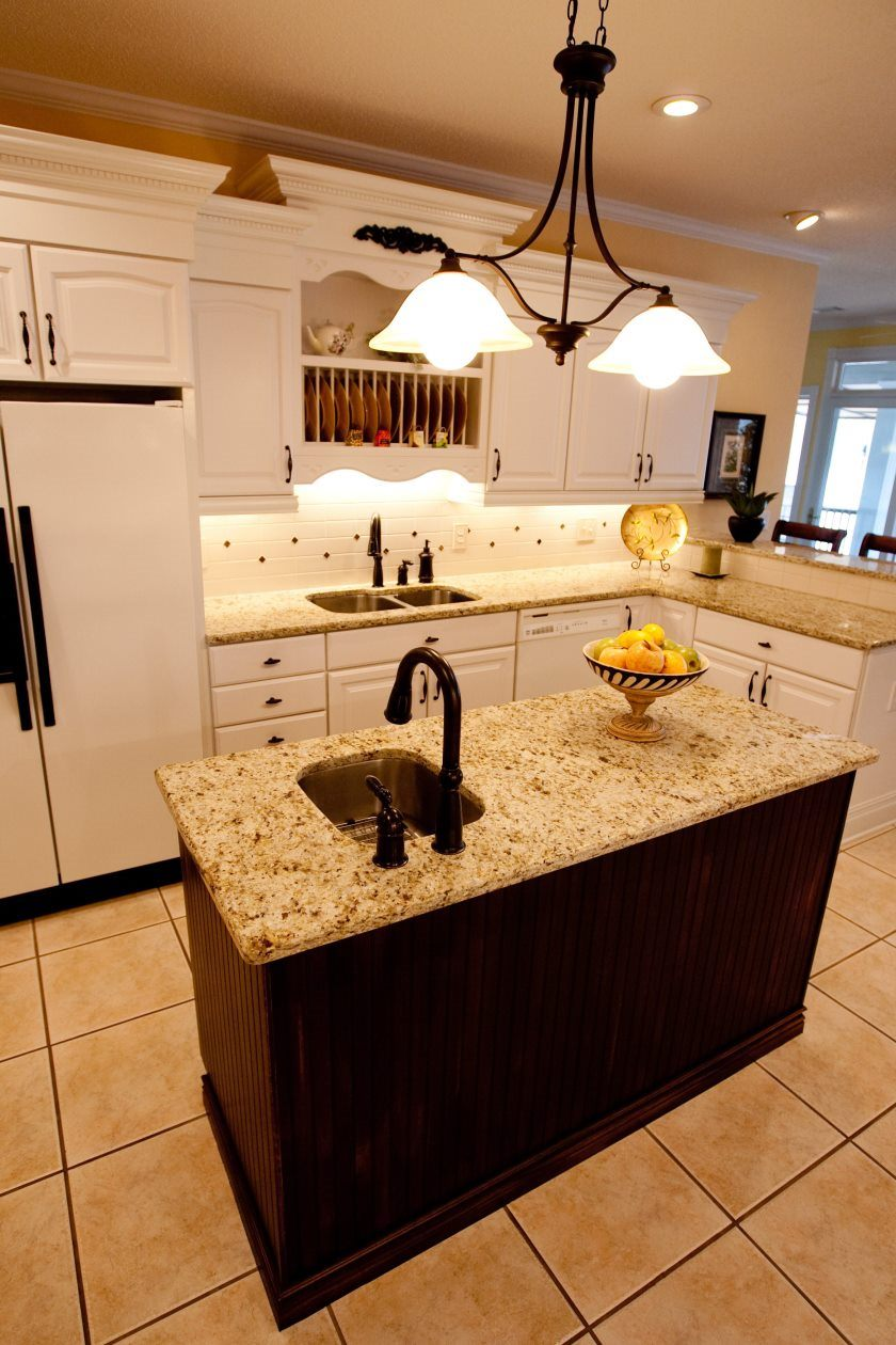 furniture-kitchen-granite-top-on-brown-wooden-kitchen-island-with-chrome-metal-undermount-sink-plus-black-polished-iron-faucet-small-kitchens-with-islands