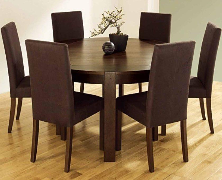 furniture-small-round-kitchen-table-and-chairs-set-and-dark-brown-padded-chair-and-round-table-also-laminate-flooring