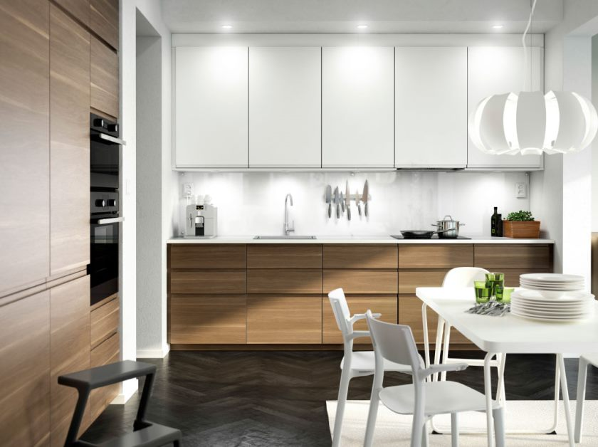 gorgeous-small-eat-in-ikea-kitchen-design-features-beautiful-white-finish-kitchen-cabinets-and-black-single-herringbone-parquet-pattern-wooden-floor-also-white-finish-rectangular-dining-table-as-well