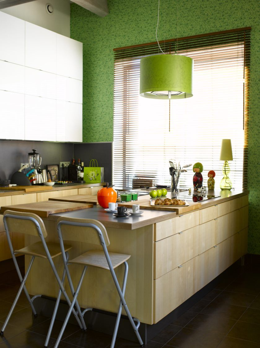 ideas-captivating-small-kitchen-island-with-seating-ikea-and-lime-green-pendant-light-also-butcher-block-placemat-and-faux-wood-horizontal-blinds