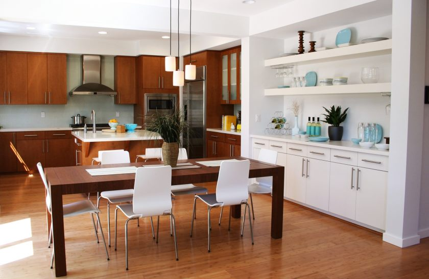 interior-furniture-kitchen-wonderful-interior-kitchen-design-ideas-with-modern-white-wooden-cabinets-in-the-right-side-and-fascinating-brown-wooden-dining-set-combinated-white-chairs-as-well-as-kitch