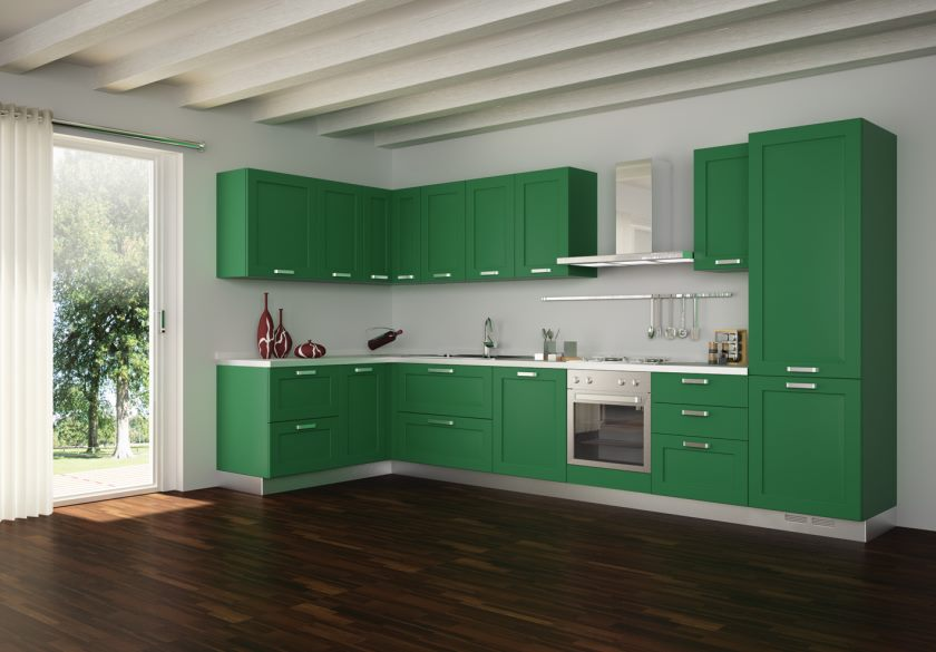 large-white-beam-ceiling-with-green-kitchen-set-plus-white-attached-curtain-plus-glass-sliding-door