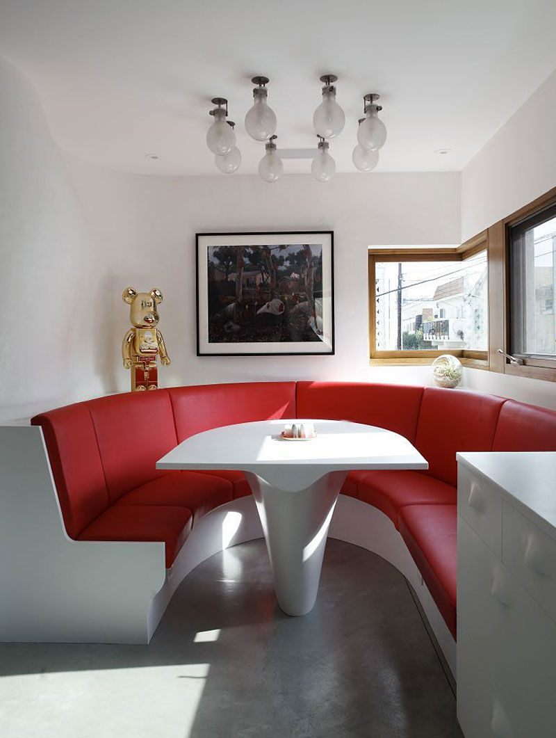 small couch in kitchen