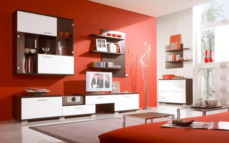 minimalist-lounge-living-room-design-maroon-wall-scheme-with-spacious-glass-wall-scheme-wall-mount-shelf-and-shelv
