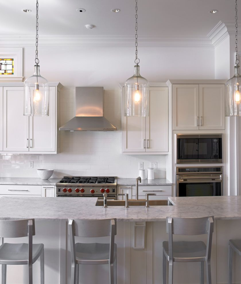 pendulum-lights-kitchen-traditional-with-aluminum-stools-frame-and-panel-cabinets-kitchen