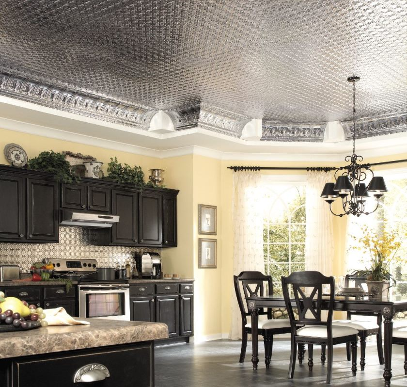 plain-cream-kitchen-wall-paint-color-background-contrast-with-black-interior-set-under-glossy-ceiling-tile-design