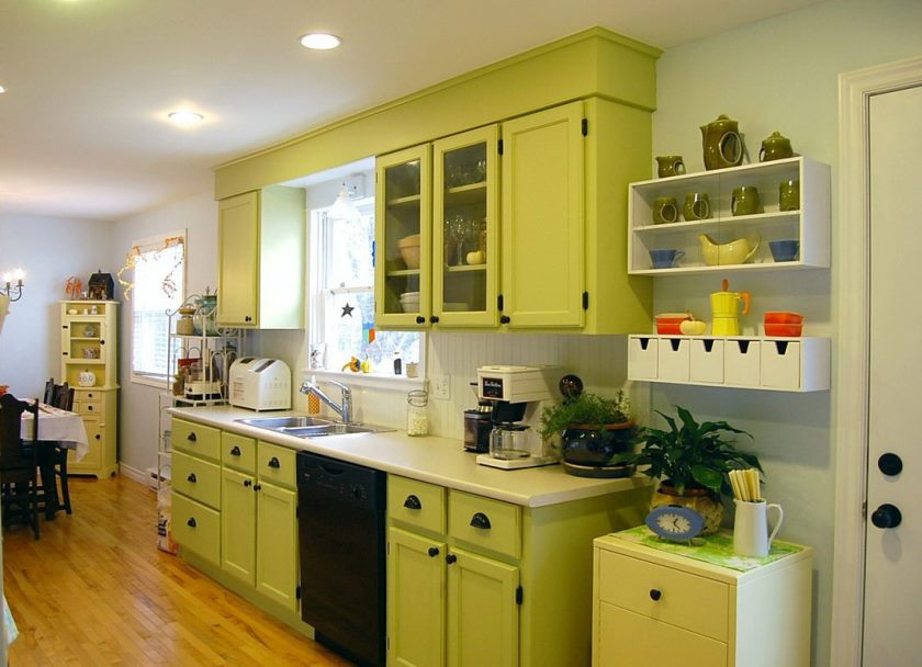 simple-light-green-kitchen-decoration-cabinets-white-ceramic-countertop