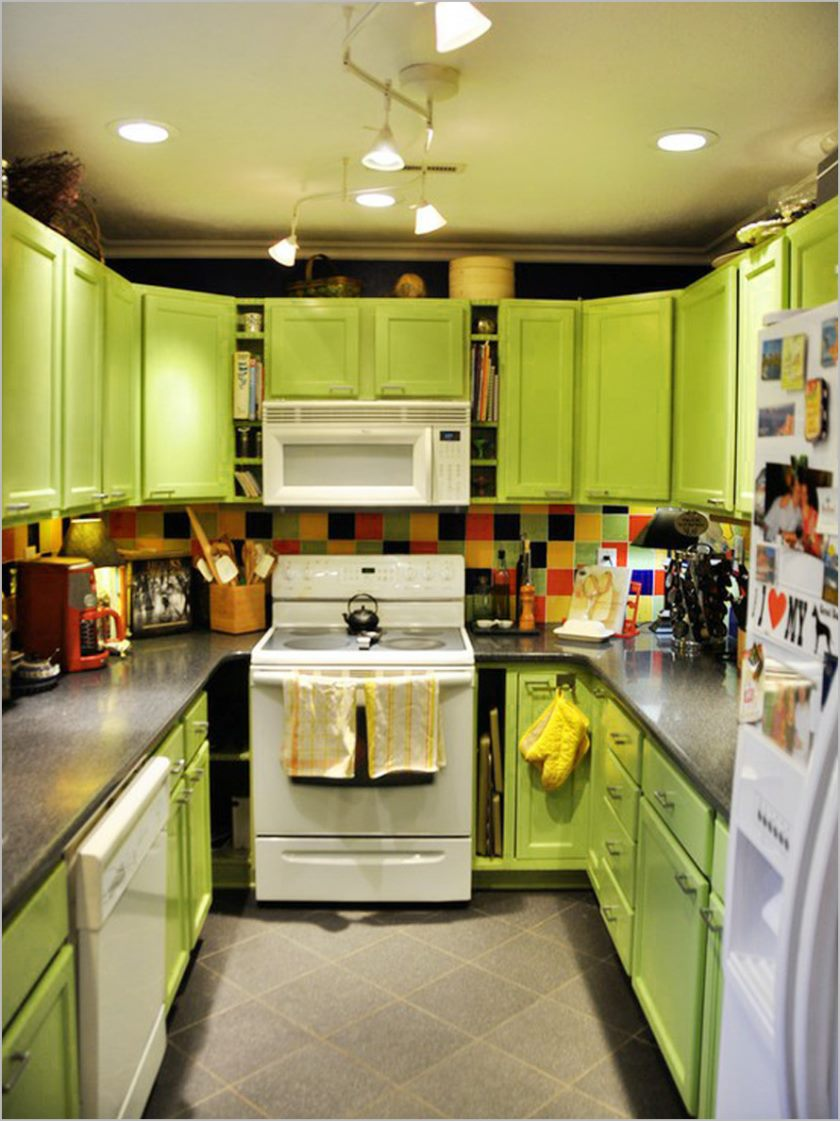 small-kitchen-with-lime-green-kitchen-cabinet-and-awesome-chandelier