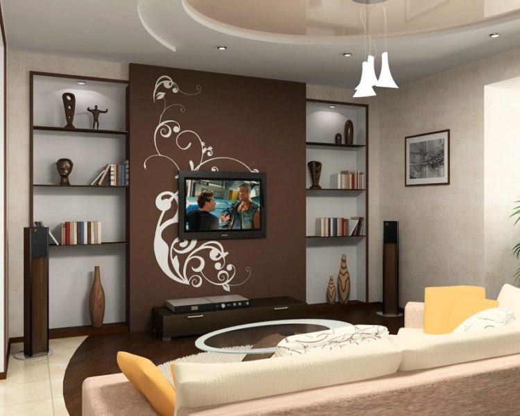 stunning-very-small-living-room-design-ideas-with-lighting-ceiling-including-tv-on-brown-wallpaper-beside-shelves-on-the-wall