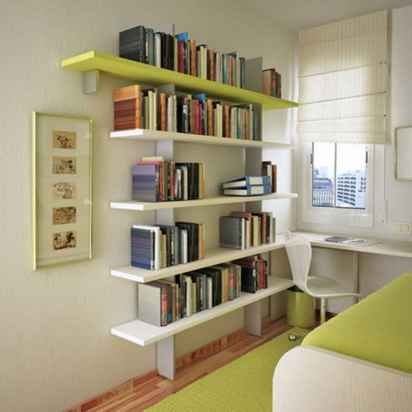 surprising-very-small-studio-apartment-design-bedroom-interior-decorating-with-white-and-light-green-colors-also-floating-shelfs-studio-apartment-space-completed-with-book-shelf-pictures-915x915