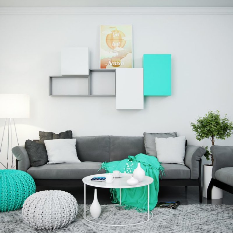 turquoise-living-room-with-modular-wall-shelves-and-cabinet