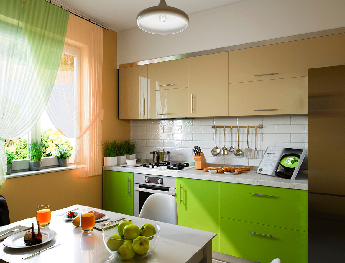 3d-illustration-of-kitchen-with-beige-and-green-facades
