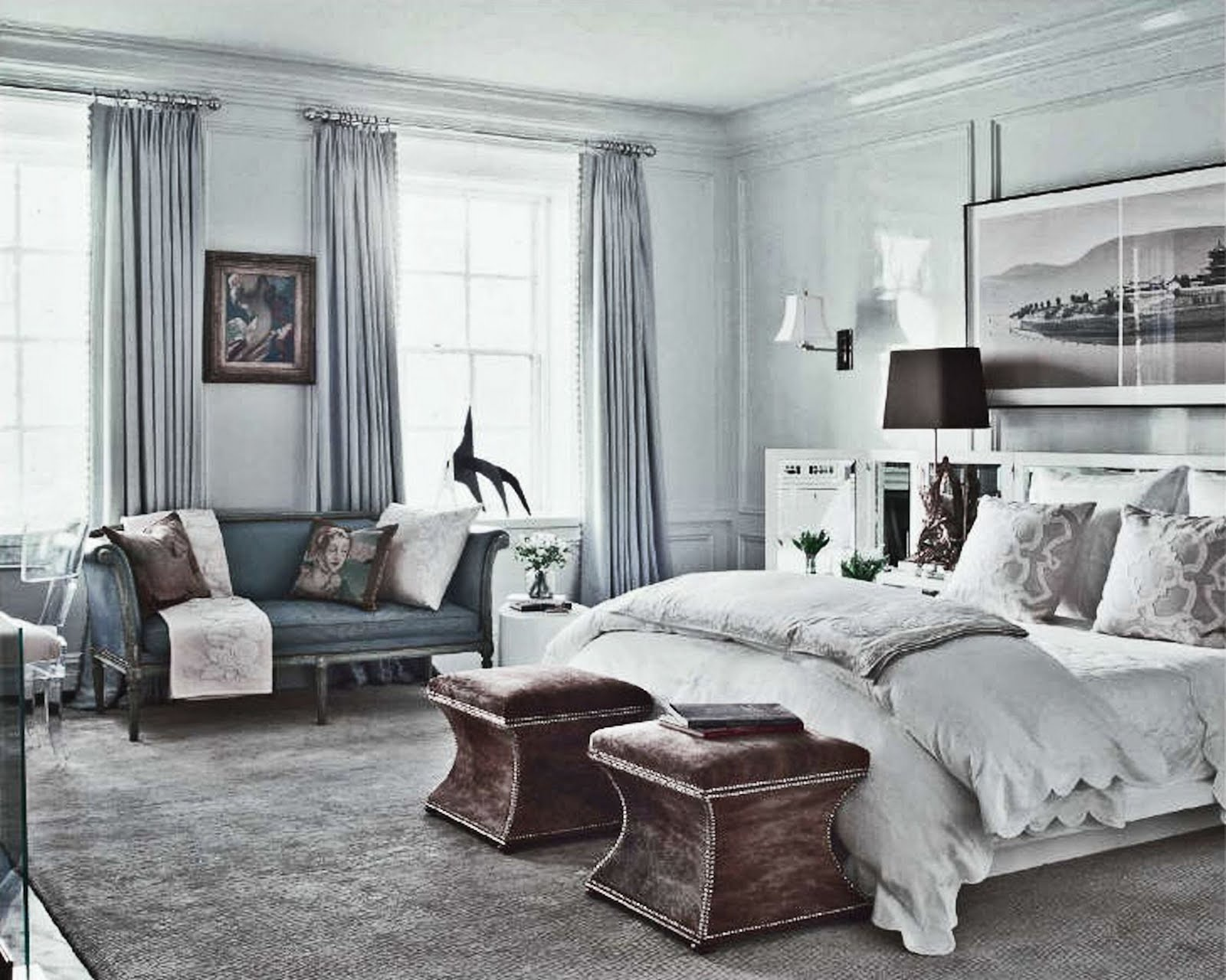 amazing-soft-grey-fabric-chesterfield-couch-style-also-gray-curtain-for-wide-windows-as-well-as-white-wall-lights-over-large-white-master-bedding-in-vintage-grey-bedroom-ideas-271