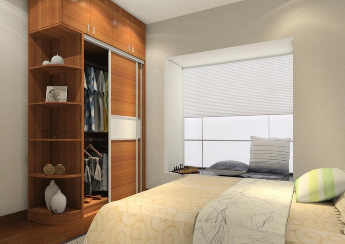 appealing-wooden-bedroom-wardrobe-closets-coupled-with-comfortbale-wide-bed-and-bay-window-sitting-space-at-contemporary-bedroom-created-on-hardwood-flooring