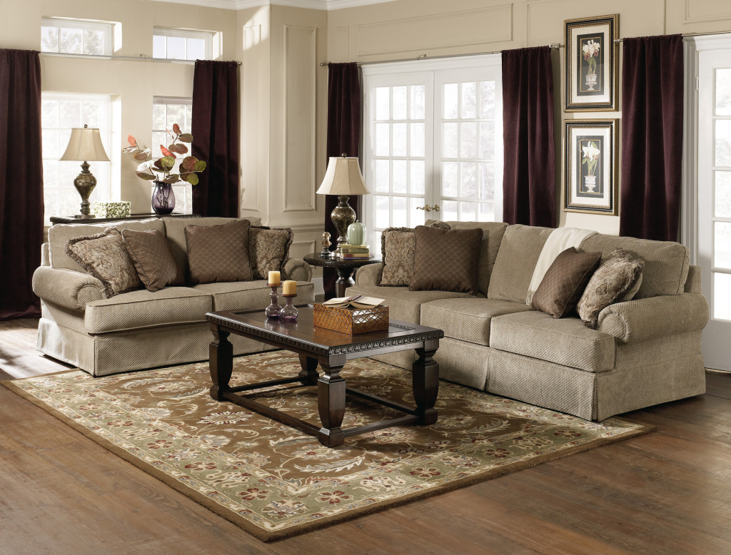 astounding-gray-sofa-and-loveseat-of-living-room-furniture-sets-furnished-with-black-wooden-table-on-rug-plus-completed-with-dark-brown-window-curtains-decor-idea