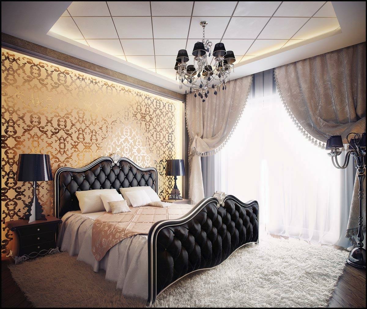 black-gold-bedroom-design