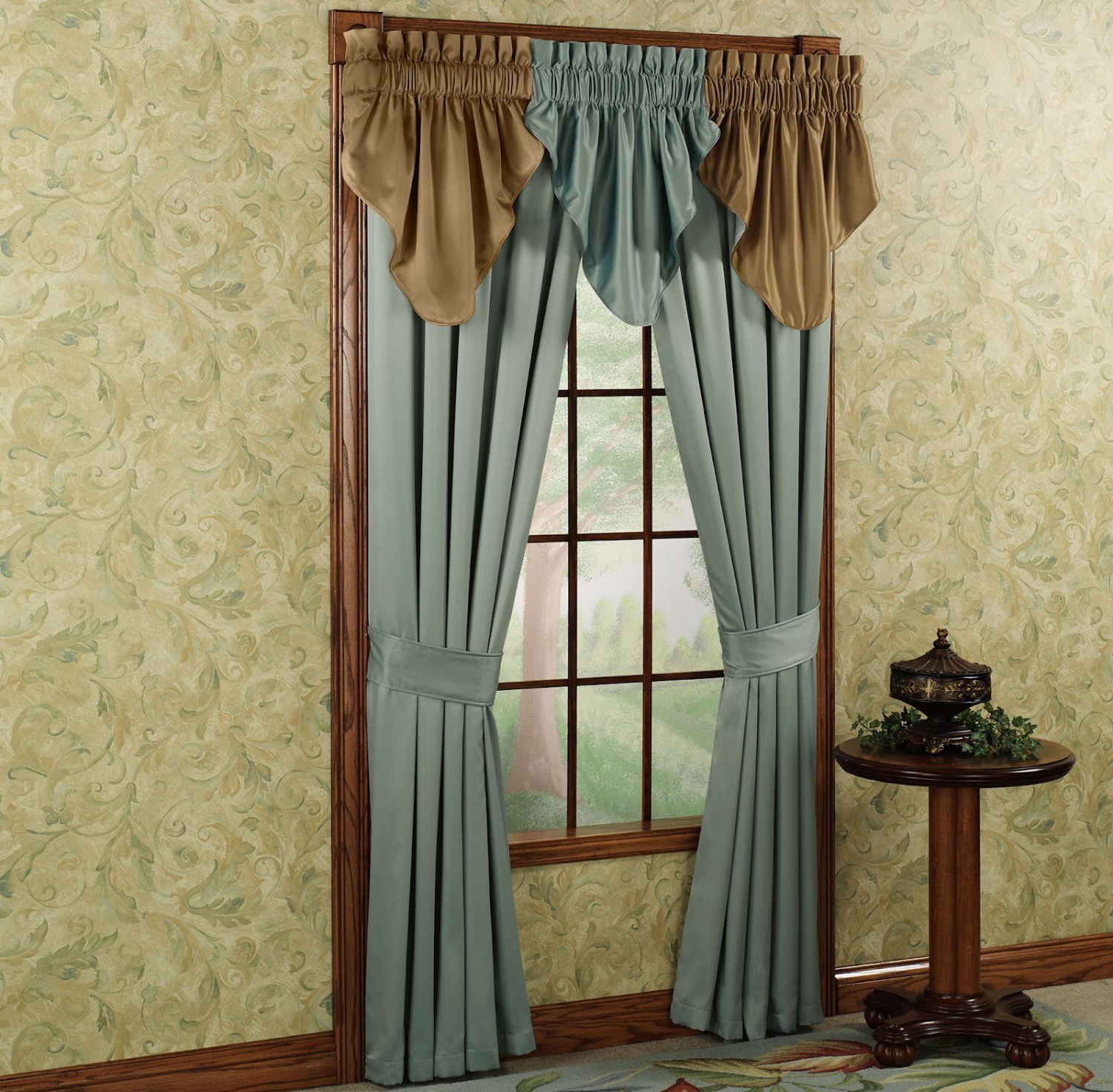 brown-and-blue-curtains-for-windows