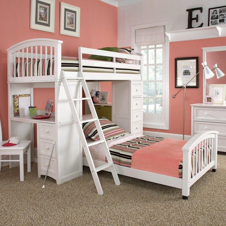 bunk-beds-for-kids-ikea-at-pink-bedrooms