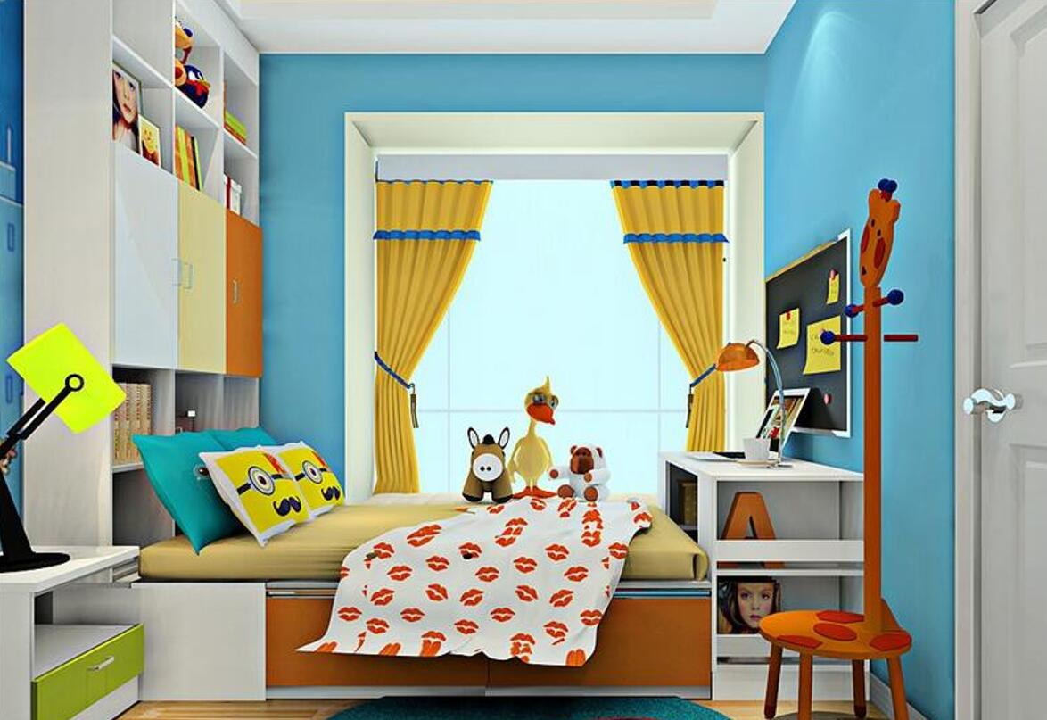 children-room-yellow-curtains-rendering