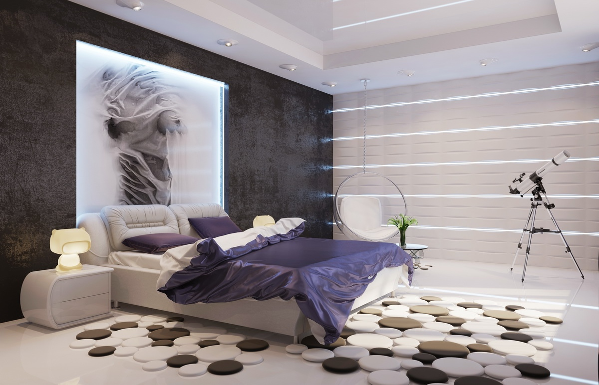 contemporary-purple-white-black-bedroom