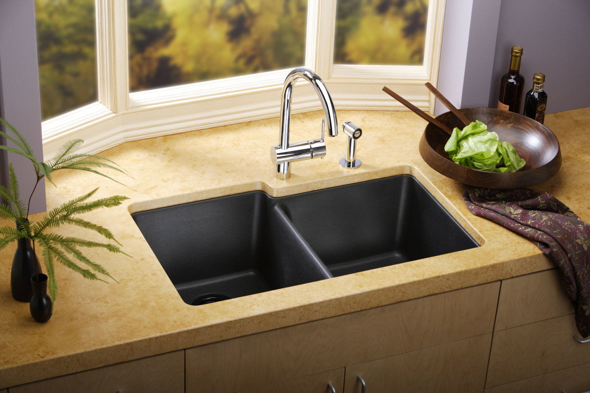 elegant-nuance-on-kitchen-countertop-which-is-completed-with-gorgeous-kitchen-sink-shapes-and-enhanced-with-chic-vase-on-dark-and-unique-bowl-1208x805